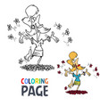 happy woman cartoon coloring page vector image
