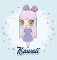 kawaii girl icon vector image vector image
