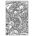 kraken the giant octopus engraved fantasy vector image