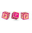 letter P wooden alphabet blocks vector image vector image