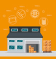 logistic services with warehouse building vector image vector image