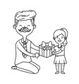 man and child with gift black and white vector image