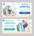 man training in gym exercise bike cycling sports vector image