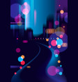 night city with blurred lights bokeh texture vector image
