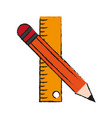 pencil and ruler vector image