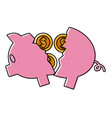 piggy broken with coins cash money vector image