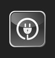 plug icon on grey square button vector image vector image