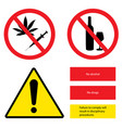 prohibition sign set no drugs no alcohol failure vector image vector image