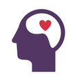 purple silhouette head and human brain with heart vector image vector image