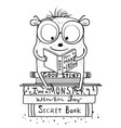 reading books monster character for coloring book vector image