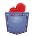 Rear pocket with lace heart vector image vector image