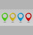 Set colorful transparent glass map pointer icon