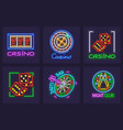 set of neon icons for casino vector image vector image