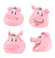 set of pig heads cartoon vector image vector image