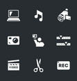 set of video blogger icons vector image vector image