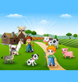the farmers keeping animals in farm vector image