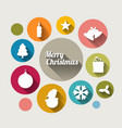 vintage christmas card with various seasonal vector image vector image