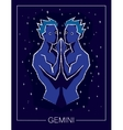 Zodiac sign Gemini on night starry sky background vector image