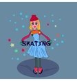 Little blond girl on ice skating Snow and freedom vector image