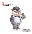 Alphabet professions Owl Letter B - Banker vector image vector image