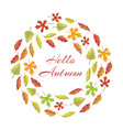 Autumnal leaves round frame with hello autumn