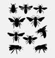 bee insect animal silhouette vector image vector image
