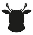 black and white reindeer head simple silhouette vector image