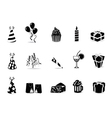 black birthday icon set vector image vector image