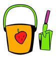 bucket and shovel for children sandbox icon vector image
