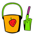 bucket and shovel for childrens sandbox icon vector image vector image
