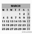 calendar design month march 2019 vector image vector image