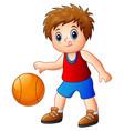 cartoon boy playing basketball vector image vector image