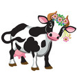 cartoon cow wearing wreath flowers vector image