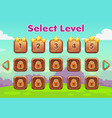cartoon level selection game screen wooden gui vector image