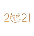 chinese new year 2021 year ox red cow vector image vector image