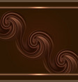 chocolate background with swirl waves and gold vector image vector image