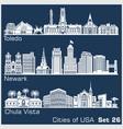 cities usa - toledo newark chula vista vector image vector image