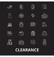 clearance editable line icons set on black vector image vector image