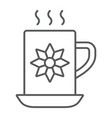 cocoa cup thin line icon sweet and drink hot mug vector image vector image