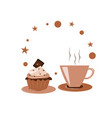 coffee in brown cup with chocolate cake vector image