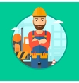 Confident builder with arms crossed vector image vector image