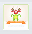 cute funny green monster fuming with rage happy vector image vector image