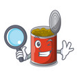 detective metal food cans on a cartoon vector image