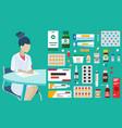 doctor prescription pills medical care pharmacy vector image vector image