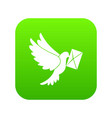 dove carrying envelope icon digital green vector image