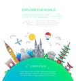 explore world - flat design travel composition vector image vector image