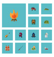 flat icons bag fire cigarette and other vector image vector image