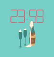 Flat on background of champagne christmas clock vector image