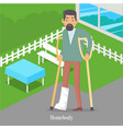 homebody on crutches with broken leg walking vector image