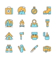line flat icons camping equipment hiking vector image